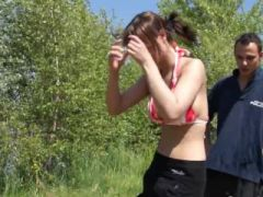 Perfect and busty outdoor sexing