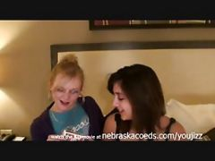 Two Hot Chicks Losing At Game Of Strip Poker