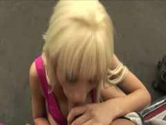 titty blonde fucked over the car