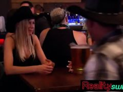 Cowgirl swinger secures BJ for hubby