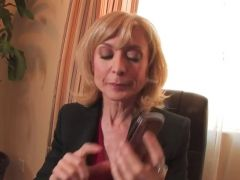 Playful mature blondie is full of energ
