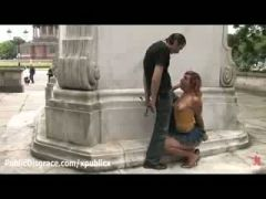 Bound redhead gives blowjob in Berlin at daylight