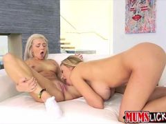 Blond Tiffany fingers off and gets licks by a horny bigtits milf