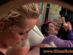 Bukkake ladies drenched by cumload