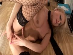 Cute young Czech girl fingers herself in the office