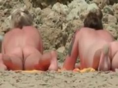 Nude beach - two milfs