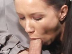 Dark Haired Coed Covered in Spunk