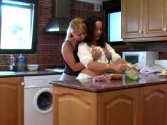 Lesbians pee in the kitchen