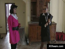Rich lady gets covered by paint in fetish scene