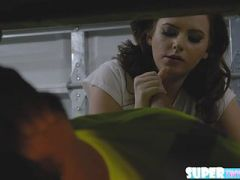 Cute and lovely Karlie Brooks gets hammered by her dads mechanic