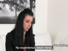 Tattooed teen in lesbian action on casting