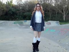 Crossdresser stripping at the skate park