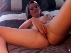 Cute seductive immature plays with herself