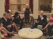 Disguise party with a bunch of sexy couples in the swingers mansion