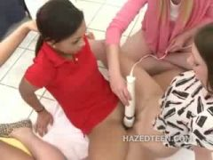 Lesbian pettie babes group hazing with toys in tight pussies