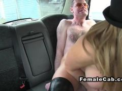 Busty female cab driver punishing guy