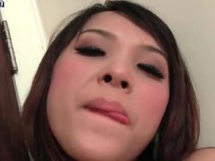 Wild asian shemale toying her asshole
