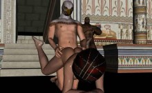 3D cartoon babe getting fucked by a masked stud