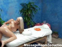 Hot blonde girl in tits and pussy massage fucking