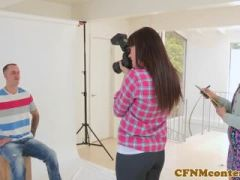 CFNM femdom photographer ass fucks in trio