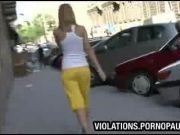 Shocked girls skirts pulled down in public
