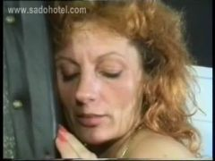 Master spanks horny slave with great body and tiny tits on her ass and let her bend over