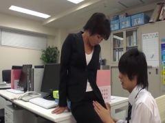 Office lady masturbate in office with co-worker