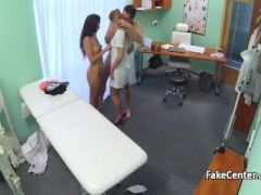Nurse enjoyed in threesome action