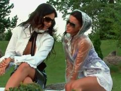 Women in smoking hot clothes outdoor play