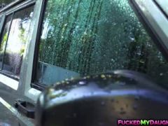 Sierra Nicole masturbates inside the car by the carwash boy