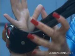 BDSM action with horny lesbo