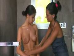 two hot lesbians in hot bathroom