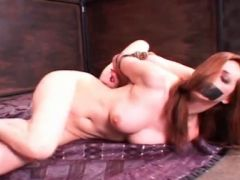 Lesbo BDSM hoes in ropes crawling on the floor