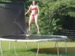 Jumping naked on a trampoline