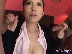 Hairy Pussy Japanese Nurse Gets Dual Sucking Action