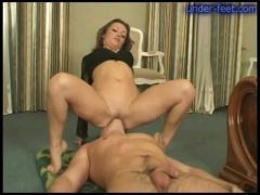 Beautiful mistress sits on his face