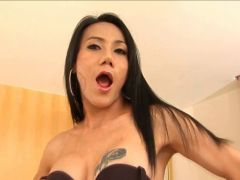 Gorgeous horny shemale jerking a shooting a good load