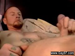 Naked guys jerk off together and cum
