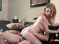 Lucious red head Lilith Lust rides on hard big cock