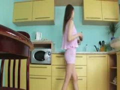shocking toying cunt in the kitchen