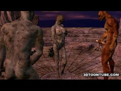 3D cartoon zombie babe getting double teamed outdoors  HD