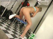 Blond girl\'s sweet pussy vibrator tested
