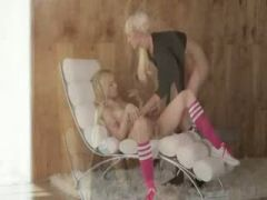 Incredible blondies in the daddys office