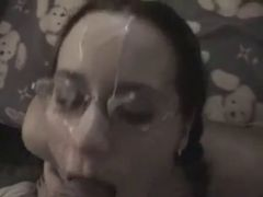 Amateur With Glasses Sucks Dicks And Gets Cum on Glasses