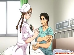 Busty hentai nurse sucking patient penis and hot poking in the hospital