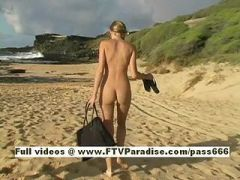 Carli, from ftv girls, beautiful blonde girl playing on the beach