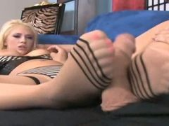 Very hot milf gives footjob and gets fucked