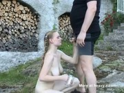Blonde teen drink piss