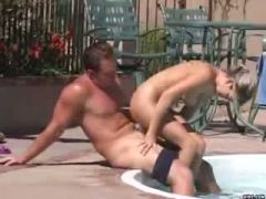 Pretty Sarah fucked by beau at the pool