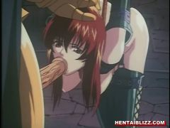 Chained hentai oralsex and facial cumshot